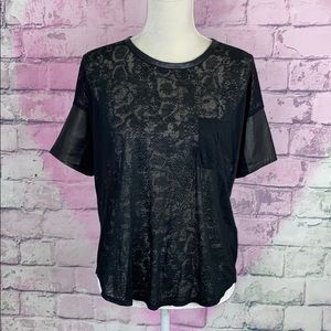 Rebecca Taylor black semi sheer lamb leather top S